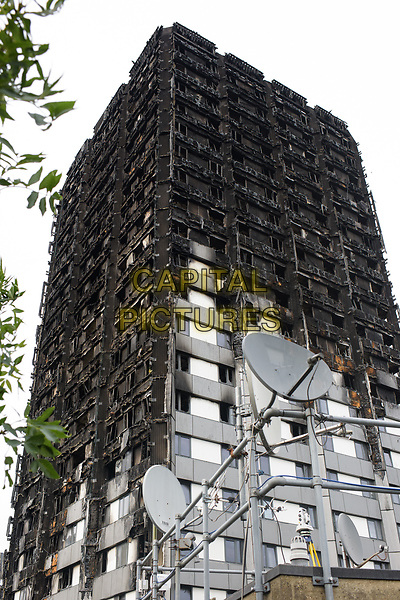 JULY 18, 2017 People living near Grenfell Tower have been told the building will be covered up by November to obscure the burnt out structure from view.  London, England on June 18, 2017<br /> CAP/CAM<br /> &copy;Andre Camara/Capital Pictures