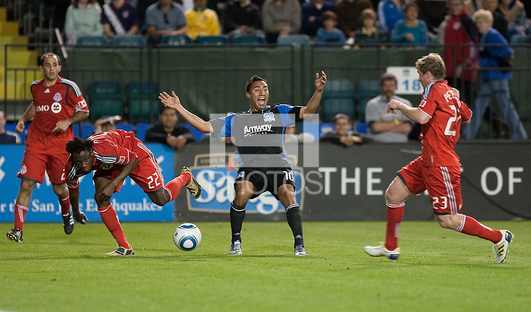 Arturo Alvarez looks to the referee for a foul call. Toronto FC defeated the San Jose Earthquakes 3-1 at Buck Shaw Stadium in Santa Clara, California on May 29th, 2010.