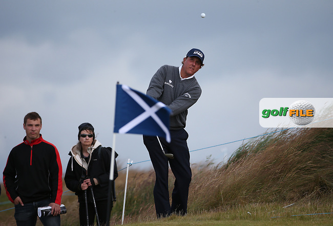 Phil Mickelson (USA) chips onto 13 during Round Two of the 2016 Aberdeen Asset Management Scottish Open, played at Castle Stuart Golf Club, Inverness, Scotland. 08/07/2016. Picture: David Lloyd | Golffile.<br /> <br /> All photos usage must carry mandatory copyright credit (&copy; Golffile | David Lloyd)