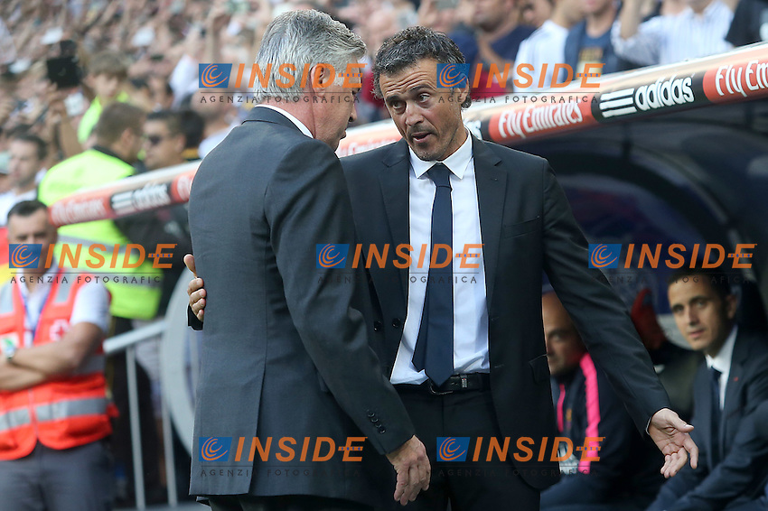 Real Madrid's coach Carlo Ancelotti (l) and FC Barcelona's coach Luis Enrique Martinez during La Liga match.October 25,2014. (ALTERPHOTOS/Acero) <br /> Clasico<br /> Foto Insidefoto