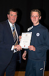St Johnstone FC Academy Awards Night...06.04.15  Perth Concert Hall<br /> Tommy Wright presents a certificate to Ben Quigley<br /> Picture by Graeme Hart.<br /> Copyright Perthshire Picture Agency<br /> Tel: 01738 623350  Mobile: 07990 594431