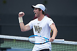 Ian Dempster of the Wake Forest Demon Deacons in action at #3 doubles against the Texas A&M Aggies during the semifinals at the 2018 NCAA Men's Tennis Championship at the Wake Forest Tennis Center on May 21, 2018 in Winston-Salem, North Carolina. The Demon Deacons defeated the Aggies 4-3. (Brian Westerholt/Sports On Film)