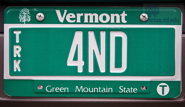Nov. 1, 2013; Vermont license plate reading &quot;4 ND&quot;<br /> <br /> Photo by Matt Cashore/University of Notre Dame
