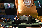 Palestinian President Mahmoud Abbas addresses the 72nd United Nations General Assembly at U.N. headquarters in New York, U.S., September 20, 2017. Photo by Thaer Ghanaim