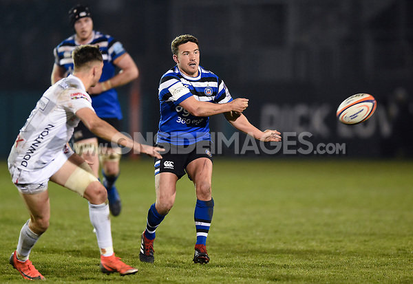 Alex Davies of Bath United passes the ball. Premiership Rugby Shield match, between Bath United and Gloucester United on April 8, 2019 at the Recreation Ground in Bath, England. Photo by: Patrick Khachfe / Onside Images
