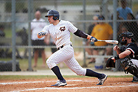 Western Connecticut Colonials center fielder Clete LoRusso (20) at bat during the first game of a doubleheader against the Edgewood College Eagles on March 13, 2017 at the Lee County Player Development Complex in Fort Myers, Florida.  Edgewood defeated Western Connecticut 3-0.  (Mike Janes/Four Seam Images)