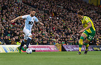 Blackburn Rovers' Adam Armstrong (left) under pressure from Norwich City's Jamal Lewis (right) <br /> <br /> Photographer David Horton/CameraSport<br /> <br /> The EFL Sky Bet Championship - Norwich City v Blackburn Rovers - Saturday 27th April 2019 - Carrow Road - Norwich<br /> <br /> World Copyright © 2019 CameraSport. All rights reserved. 43 Linden Ave. Countesthorpe. Leicester. England. LE8 5PG - Tel: +44 (0) 116 277 4147 - admin@camerasport.com - www.camerasport.com