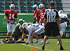 New York Jets quarterback #14 Sam Darnold, left, prepares to throw long passes on a football field far, far away from the media during team training camp at the Atlantic Health Jets Training Center in Florham Park, NJ on Monday, Aug. 6, 2018.