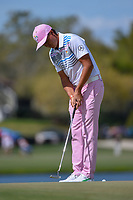 Rickie Fowler (USA) sinks his putt on 6 during round 2 of the Arnold Palmer Invitational at Bay Hill Golf Club, Bay Hill, Florida. 3/8/2019.<br /> Picture: Golffile | Ken Murray<br /> <br /> <br /> All photo usage must carry mandatory copyright credit (&copy; Golffile | Ken Murray)