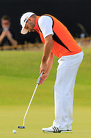 Sergio Garcia (ESP) takes his birdie putt on the 14th green during Thursday's Round 1 of the 145th Open Championship held at Royal Troon Golf Club, Troon, Ayreshire, Scotland. 14th July 2016.<br /> Picture: Eoin Clarke | Golffile<br /> <br /> <br /> All photos usage must carry mandatory copyright credit (&copy; Golffile | Eoin Clarke)