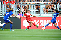 Boyds, MD - Saturday August 12, 2017: Julie King, Estefanía Banini, Allysha Chapman during a regular season National Women's Soccer League (NWSL) match between the Washington Spirit and The Boston Breakers at Maureen Hendricks Field, Maryland SoccerPlex.