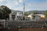 The Emperor's Mosque, built in 1457 in Classical Ottoman style, the oldest mosque in Sarajevo, Bosnia and Herzegovina. The original mosque was built by Isakovic-Hranusic and was rebuilt in 1565 and extended with side rooms in the 19th century. The city was founded by the Ottomans in 1461. Picture by Manuel Cohen