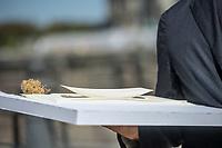 Pressekonferenz am Donnerstag den 23. August 2018 u.a. mit Lothar de Maiziere, letzter DDR- Ministerpraesident, Sabine Bergmann-Pohl, Praesidentin der letzten Volkskammer der DDR, Guenter Nooke, ehemaliger DDR-Buergerrechtler und Wolfgang Thierse ehemaliger Bundestagspraesident zum geplanten Freiheits- und Einheitsdenkmal, welches nach Willen der Initiatoren vor dem wiedererrichteten Berliner Stadtschloss gebaut werden soll.<br /> Im Bild: Das Model der sog. Einheits-Wippe.<br /> 23.8.2018, Berlin<br /> Copyright: Christian-Ditsch.de<br /> [Inhaltsveraendernde Manipulation des Fotos nur nach ausdruecklicher Genehmigung des Fotografen. Vereinbarungen ueber Abtretung von Persoenlichkeitsrechten/Model Release der abgebildeten Person/Personen liegen nicht vor. NO MODEL RELEASE! Nur fuer Redaktionelle Zwecke. Don't publish without copyright Christian-Ditsch.de, Veroeffentlichung nur mit Fotografennennung, sowie gegen Honorar, MwSt. und Beleg. Konto: I N G - D i B a, IBAN DE58500105175400192269, BIC INGDDEFFXXX, Kontakt: post@christian-ditsch.de<br /> Bei der Bearbeitung der Dateiinformationen darf die Urheberkennzeichnung in den EXIF- und  IPTC-Daten nicht entfernt werden, diese sind in digitalen Medien nach &sect;95c UrhG rechtlich geschuetzt. Der Urhebervermerk wird gemaess &sect;13 UrhG verlangt.]