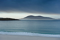View over calm sea from Luskentyre beach, Isle of Harris, Outer Hebrides, Scotland