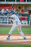 Michael Medina (25) of the Ogden Raptors at bat against the Orem Owlz in Pioneer League action at Home of the Owlz on June 20, 2015 in Provo, Utah. The Raptors defeated the Owlz 9-6. (Stephen Smith/Four Seam Images)
