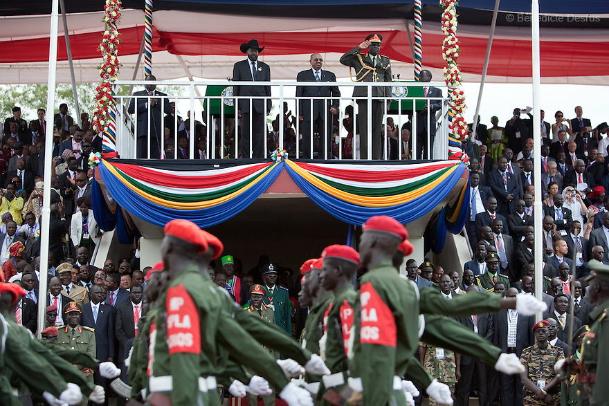 Saturday 9 july 2011 - Juba, Republic of South Sudan - South Sudan's President Kiir and Sudan's President al-Bashir attend the Independence Day ceremony in South Sudan's capital Juba. Tens of thousands of citizens of the new South Sudan celebrate national independence but whether statehood will resolve issues of identity after a decades-long war remains to be seen. Photo credit: Benedicte Desrus