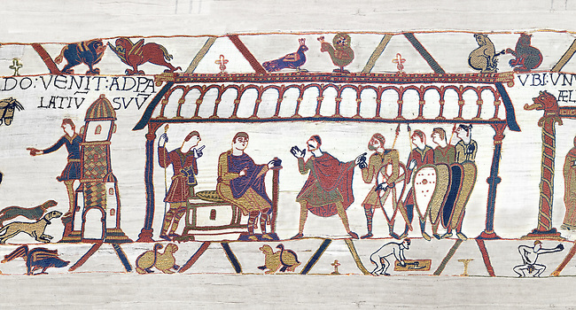 Bayeux Tapestry  Scene 15 - Harold and Duke Williams hold negotiations.