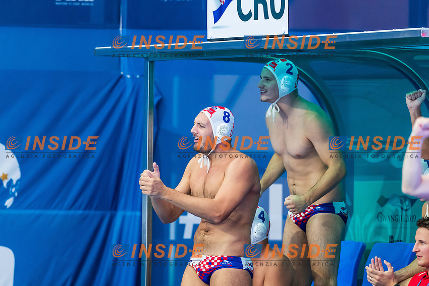 27-07-2019: WK waterpolo: Croatia v Hungary: Gwangju<br /> #8 BUSLJE Andro (C) (CRO) and #2 MACAN Marko (CRO)<br /> Gwangju South Korea 27/07/2019<br /> Waterpolo M47 CRO - HUN<br /> 18th FINA World Aquatics Championships<br /> Nambu University Grounds <br /> Orange Pictures / Deepbluemedia / Insidefoto