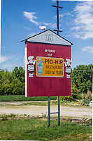 This sign is all that remains of the Pig Hip Restaurant in Broadwell Illinois on Route 66.  The iconic restaurant owned by Ernie Edwards burned down on March 5th 2007.