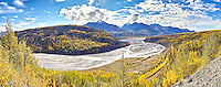 This sweeping view of the Matanuska River is visible from a point about 80 miles north of Anchorage Alaska.
