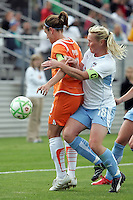 Chicago's Frida Ostburg (18) fouls Sky Blue's Heather O'Reilly (9).  Sky Blue defeated the Chicago Red Stars 1-0 in a mid-week game, Wednesday, June 17, at Yurcak Field.