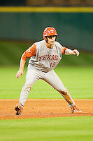 Jacob Felts #12 of the Texas Longhorns takes his lead off of second base against the Tennessee Volunteers at Minute Maid Park on March 3, 2012 in Houston, Texas.  The Volunteers defeated the Longhorns 5-4.  (Brian Westerholt/Four Seam Images)