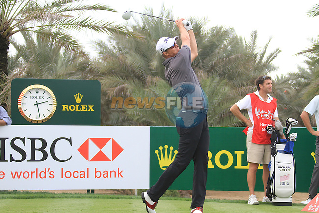 Fredrik Andersson Hed teeing off on the 9th tee on day one of the Abu Dhabi HSBC Golf Championship 2011, at the Abu Dhabi golf club, UAE. 20/1/11..Picture Fran Caffrey/www.golffile.ie.