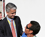 United States Soccer Federation president Sunil Gulati (l) talks with assistant coach Raul Diaz Arce (SLV). The United States Men's Under 17 National Team defeated El Salvador's U-17 National Team in an international friendly on Sunday, March 25th, 2007 at Raymond James Stadium in Tampa, Florida.