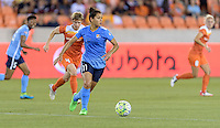 Raquel Rodriguez (11) of Sky Blue FC races up the field with the ball against the Houston Dash on Friday, April 29, 2016 at BBVA Compass Stadium in Houston Texas. The Houston Dynamo and Sky Blue FC tied 0-0.