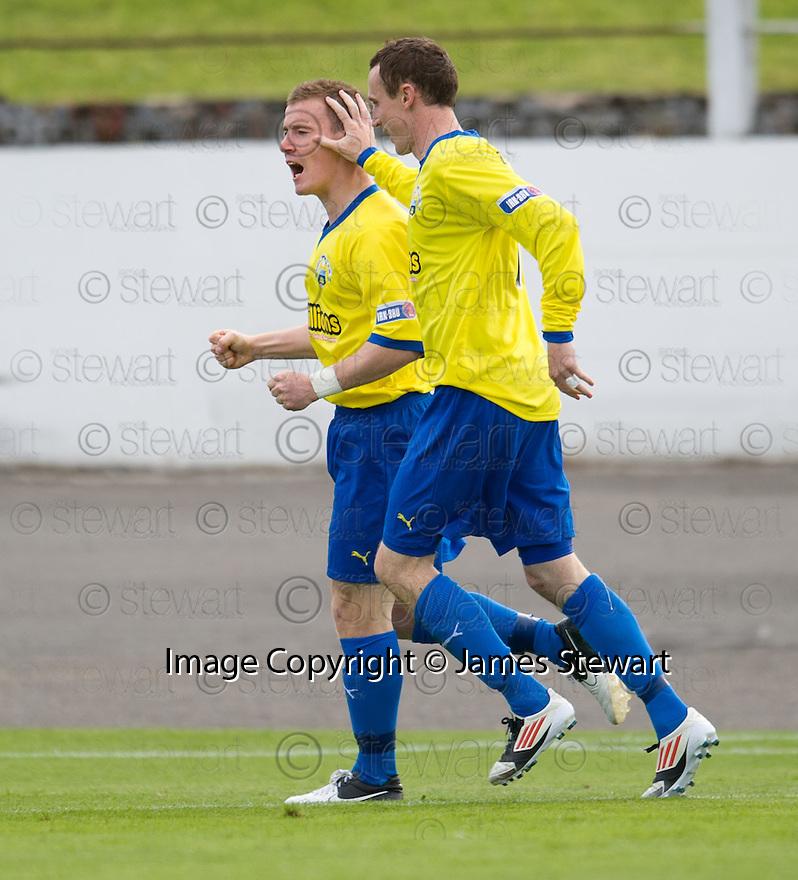 Morton's Archie Campbell (left) celebrates after he scores Morton's third goal   ...