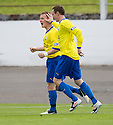 Morton's Archie Campbell (left) celebrates after he scores Morton's third goal   ...