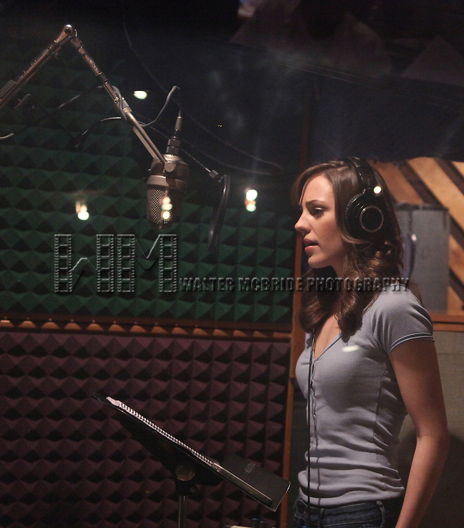 "Laura Osnes in the studio recording for the Original Broadway Cast Recording of Broadway's ""Rodgers & Hammerstein's Cinderella? at MSR Studios in New York City on 3/18/2013"