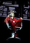 DAVID BOWIE - performing live on the Glass Spider Tour at Wembley Stadium in London UK - 19 Jun 1987.  Photo credit: George Bodnar Archive/IconicPix