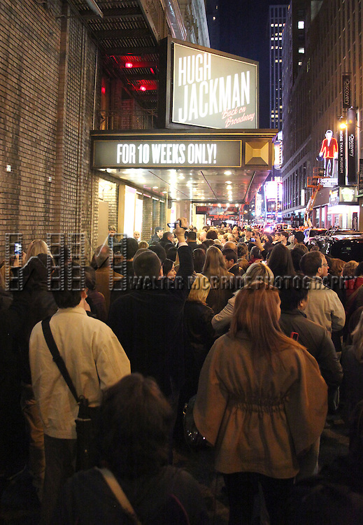 A Frenzy of fans line the streets after Tony Award-winner Hugh Jackman's first preview performance in 'Hugh Jackman, Back on Broadway' at the Broadhurest Theatre in New York City...Accompanied by an 18-piece orchestra, Jackman performs a personal selection of his favorite musical numbers that reflect on the stage and film star's remarkable life and career, from The Boy from Oz to Hollywood.