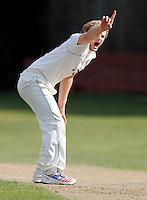 Jordan Gregory of North London appeals during the Middlesex County Cricket League Division Three game between North London and Brentham at Park Road, London, on Sat July 23, 2016