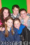 GIRLS: Ballybunion girls enjoying the North Kerry Sco?r finals in the Community Asdee on Saturday night were Clodagh Meehan, Shauna Goggin, Shannen Enright, Corey Meehan and Lucy Jayne McCarthy..   Copyright Kerry's Eye 2008