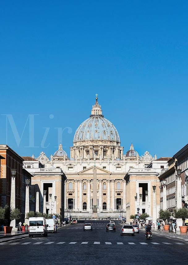 St. Peter's Basilica as seen from the Via della Conciliazione, Rome, Italy