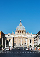 St. Peter's Basilica as seen from the Via della Conciliazione, Rome, Italy