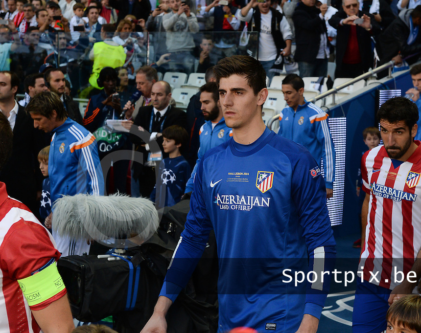 20140524 - LISBON , PORTUGAL : Atletico's Thibaut Courtois pictured during soccer match between Real Madrid CF and Club Atletico de Madrid in the UEFA Champions League Final on Saturday 24 May 2014 in Estadio Da Luz in Lisbon .  PHOTO DAVID CATRY