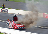 Sep 2, 2019; Clermont, IN, USA; Smoke pours from the car of NHRA funny car driver Bob Bode after suffering an engine fire during the US Nationals at Lucas Oil Raceway. Mandatory Credit: Mark J. Rebilas-USA TODAY Sports