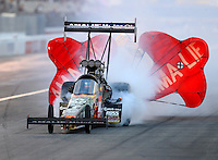 Feb 11, 2017; Pomona, CA, USA; NHRA top fuel driver Terry McMillen during qualifying for the Winternationals at Auto Club Raceway at Pomona. Mandatory Credit: Mark J. Rebilas-USA TODAY Sports