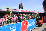Cannondale Drapac at sign on before Stage 1 of the 100th edition of the Giro d'Italia 2017, running 206km from Alghero to Olbia, Sardinia, Italy. 4th May 2017.<br /> Picture: Ann Clarke | Cyclefile<br /> <br /> <br /> All photos usage must carry mandatory copyright credit (&copy; Cyclefile | Ann Clarke)