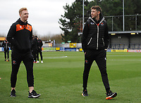 Blackpool's Callum Guy and Joe Bunney<br /> <br /> Photographer Kevin Barnes/CameraSport<br /> <br /> The EFL Sky Bet League One - AFC Wimbledon v Blackpool - Saturday 29th December 2018 - Kingsmeadow Stadium - London<br /> <br /> World Copyright &copy; 2018 CameraSport. All rights reserved. 43 Linden Ave. Countesthorpe. Leicester. England. LE8 5PG - Tel: +44 (0) 116 277 4147 - admin@camerasport.com - www.camerasport.com