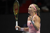 February 3rd 2019. St Petersburg, Russia; Kiki Bertens of Netherlands reacts during the St. Petersburg Ladies Trophy tennis tournament final match versus Donna Vekic of Croatia on February 03, 2019, at Sibur Arena