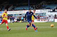 8th February 2020; Dens Park, Dundee, Scotland; Scottish Championship Football, Dundee versus Partick Thistle; <br /> Kane Hemmings of Dundee scores for 2-0 in the 30th minute