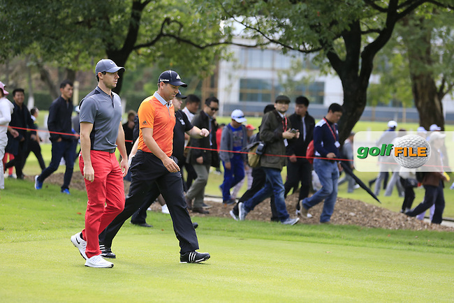 Rory McIlroy (NIR), Sergio Garcia (ESP) walking off the 5th tee during the final round of the WGC-HSBC Champions, Sheshan International GC, Shanghai, China PR.  30/10/2016<br /> Picture: Golffile | Fran Caffrey<br /> <br /> <br /> All photo usage must carry mandatory copyright credit (&copy; Golffile | Fran Caffrey)