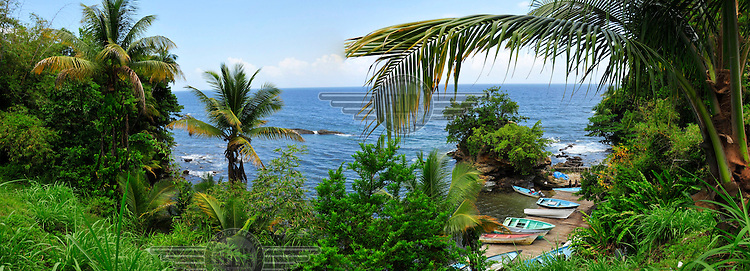 Two images stitched together to make a panoramic view over the Gulf of Paria.