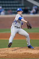 Kentucky Wildcats relief pitcher Brad Schaenzer (42) in action against the North Carolina Tar Heels at Boshmer Stadium on February 17, 2017 in Chapel Hill, North Carolina.  The Tar Heels defeated the Wildcats 3-1.  (Brian Westerholt/Four Seam Images)