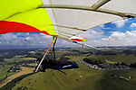 BRIGHTON, ENGLAND - AUGUST 29: Mounted camera view of Hang gliding and Para-gliding at Devils Dyke on the South Downs Sussex UK on August 29, 2016 in Brighton, England. (Photo by Split Second/Corbis via Getty Images)