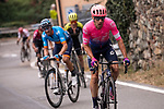 The final climb up to Basilica Superga with Michael Woods (CAN) EF Education First, Spanish Champion Alejandro Valverde (ESP) Movistar Team and Adam Yates (GBR) Mitchelton-Scott during the world's oldest classic the 100th edition of Milano-Torino running 179km from Magenta to the Basilica at Superga in Turin, Italy. 9th Octobre 2019. <br /> Picture: Marco Alpozzi/LaPresse | Cyclefile<br /> <br /> All photos usage must carry mandatory copyright credit (© Cyclefile | LaPresse/Marco Alpozzi)